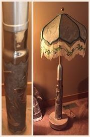 Trench artillery lamp and silk shade from WWI!