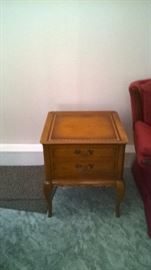 Matching wood and leather end tables and coffee table in excellent shape!!