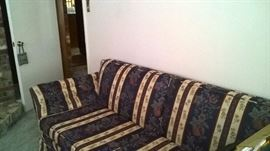 Fantastic mid century modern couch with flared arms. Clean and fresh to use as is!