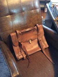 Antique leather briefcase / satchel