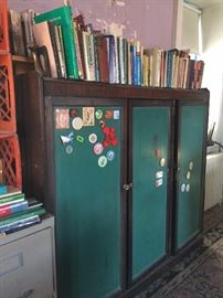 Vintage classroom cabinet with chalkboard panels
