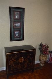 Pair of Oriental Chests and Wall Hangings