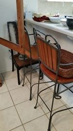 Pair of Iron and Wood Bar Stools
