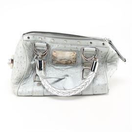4682521ccfa Versace Ostrich Leather Handbag: A Versace handbag. This piece is light  metal gray and