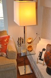 Mid century combination glass and chrome table with lamp (shown with Dansk Design iron Jens Quistgaard  8 candle holder)