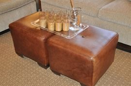 "A pair of distressed brown leather ottomans (20"" sq.)!"