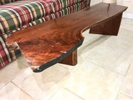 Side view of handmade coffee table