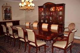 Quality Dining Room Table with 10 Chairs and Breakfront from England