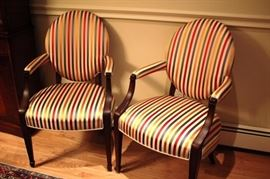 Pair Of Striped Upholstered Chairs