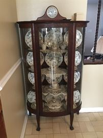 Antique curio cabinet and china
