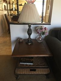 End table, lamp and decor