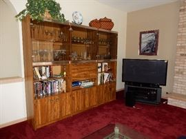 MCM Bar, Book Case Unit  Panasonic flat screen TV and Stand.