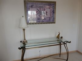Sofa Console Table  Antique Brass finish with glass top