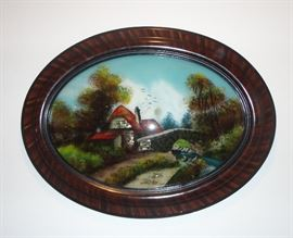 Antique reverse painted glass with some mother of pearl - condition of painting and frame are both excellent.