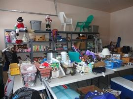 Garage:   garden, tools, shop vac, seasonal, toys, books, crafts, tables, chairs, bins, totes, shelving and loads more!