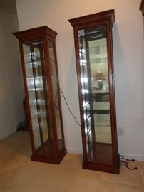 A pair of good quality curio cabinets, each with lighting. Can be sold separately.