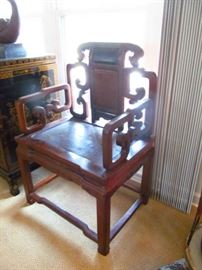 Antique elm wood Majong Chair over 188 Years old