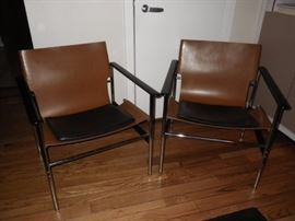Knoll Charles Pollock leather sling chairs mid century modern
