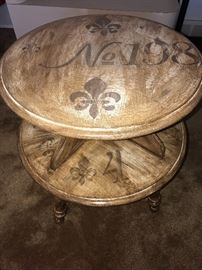SHABBY CHIC AND VERY UNIQUE FLEUR DE LIS HAND-PAINTED TWO TIER TABLE