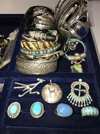 LARGE SELECTION OF STERLING SILVER JEWELRY, NAVAJO AND ZUNI NATIVE AMERICAN JEWELRY, AMBER JEWELRY, PRECIOUS AND SEMI-PRECIOUS NATURAL STONES.