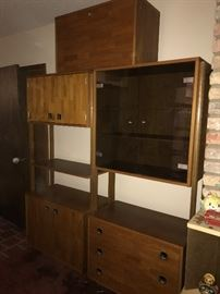 Mid Century Modern Three Section Bookshelf.  Desk Section is on Top of the two other sections