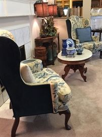 Woodmark Originals Pair Queen Anne Crewel Work Upholstered Wing Chairs | by: Mary Webb Wood.