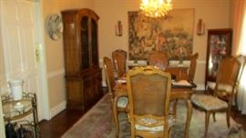 Dining table, china cabinet, buffet