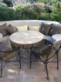 pillows & patio table & chairs