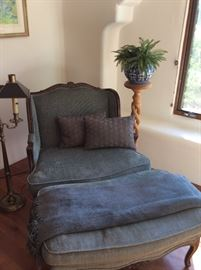 French down chair & ottoman