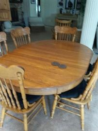 Oak table and 6 chairs $500.00