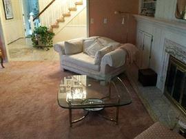 White sofa $300.00 Glass table 350.00