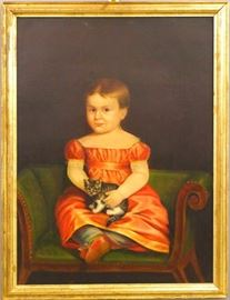 "An early 19th century American Primitive oil on canvas portrait of a young girl.  Depicted seated on a Classical Period bench in a Pink dress with a kitten in her lap.  Some light craquelure, lined, blacklights clean.  Image 25 3/4 x 35"", in an older gilded frame, 29 3/4 x 39"" high overall.  ESTIMATE $2,000-3,000"