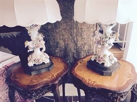German porcelain lamps and carved inlaid tables