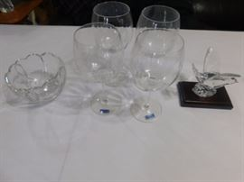 Waterford Crystal Bowl, wine glasses, and nightingale