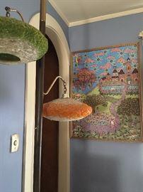 Mid Century Suspension Lamp, Original Folk Art