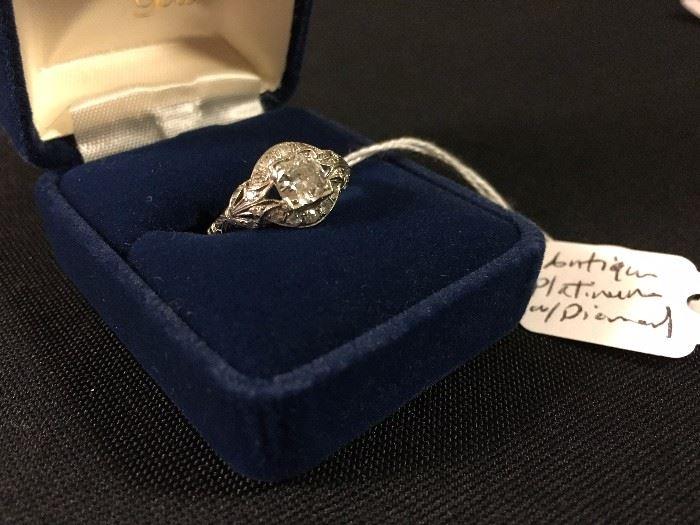 Antique Diamond Engagement Ring set in Platinum