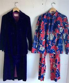 Purple Velvet 2 pc 70s set and 3 pc 1960s elephant print set
