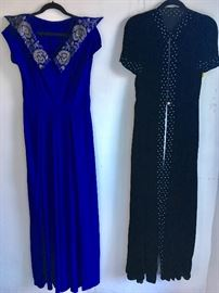 1940s Rayon Gown with beaded collar in excellent Cond and 1940s silk velvet dressing robe with blue studs