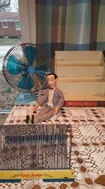 Vintage Blue Fan, Pull String Pee Wee Herman,Lyric Junior Record Holder, Brach Candy display shelf