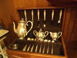 "Sterling Danish Gran Laglyle Tea Set! Sterling silver ""Prelude"" 6 Piece Serving set for 6 (36 pieces total)"