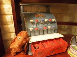 Toy dog & cash register