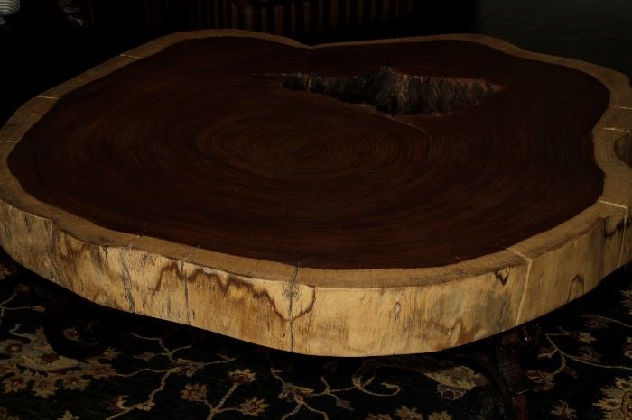 Gorgeous! South American Log Section Coffee Table with Custom Metal Base - approx. 65 inch diameter
