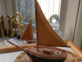 wooden sail boat table top decor.