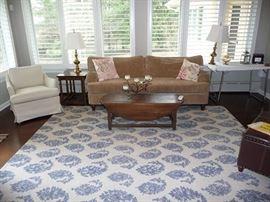 Sofa, Room Size Rug & Table