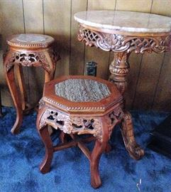 3 MARBLE TOP SIDE TABLES