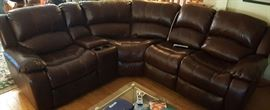 Leather Sofa Sectional With Multiple Electric Recliners