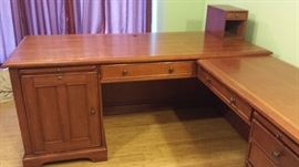 Solid Mahogany computer desk with electronic switch control and filing cabinet.