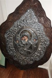 VERY LARGE ANTIQUE RUSSIAN ICON IN ORNATE FRAME