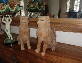 PAIR OF 17C OR EARLIER JAPANESE WOOD SHI SHI FOO LION DOGS