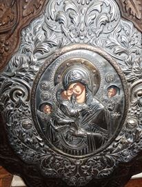 Very Large 19c hand painted Russian Icon in ornate frame
